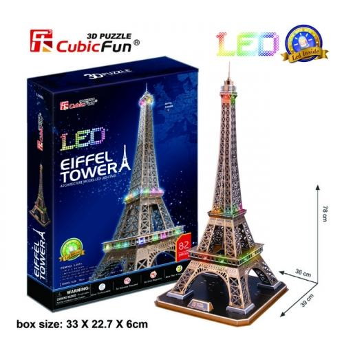 3D ПЪЗЕЛ С LED СВЕТЛИНИ EIFFEL TOWER - CUBIC FUN